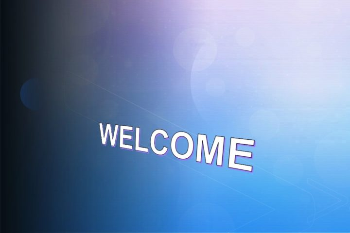 welcome with blue background